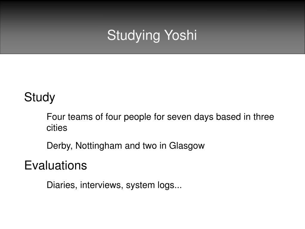 Studying Yoshi