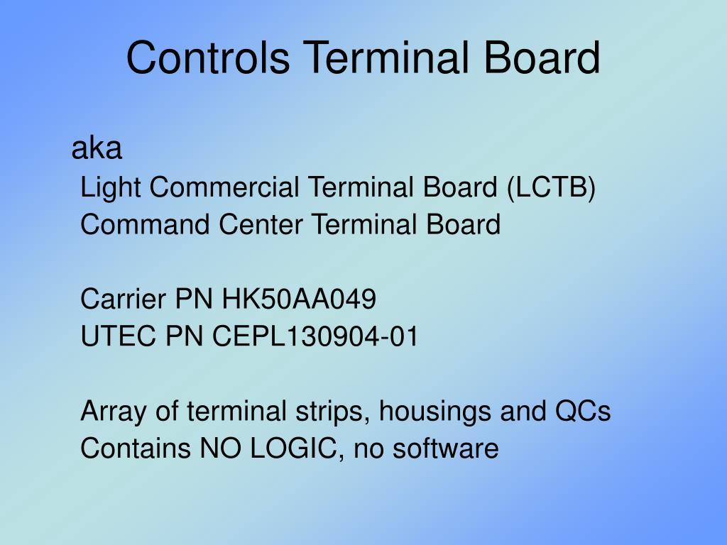 Controls Terminal Board