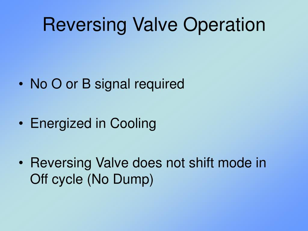 Reversing Valve Operation