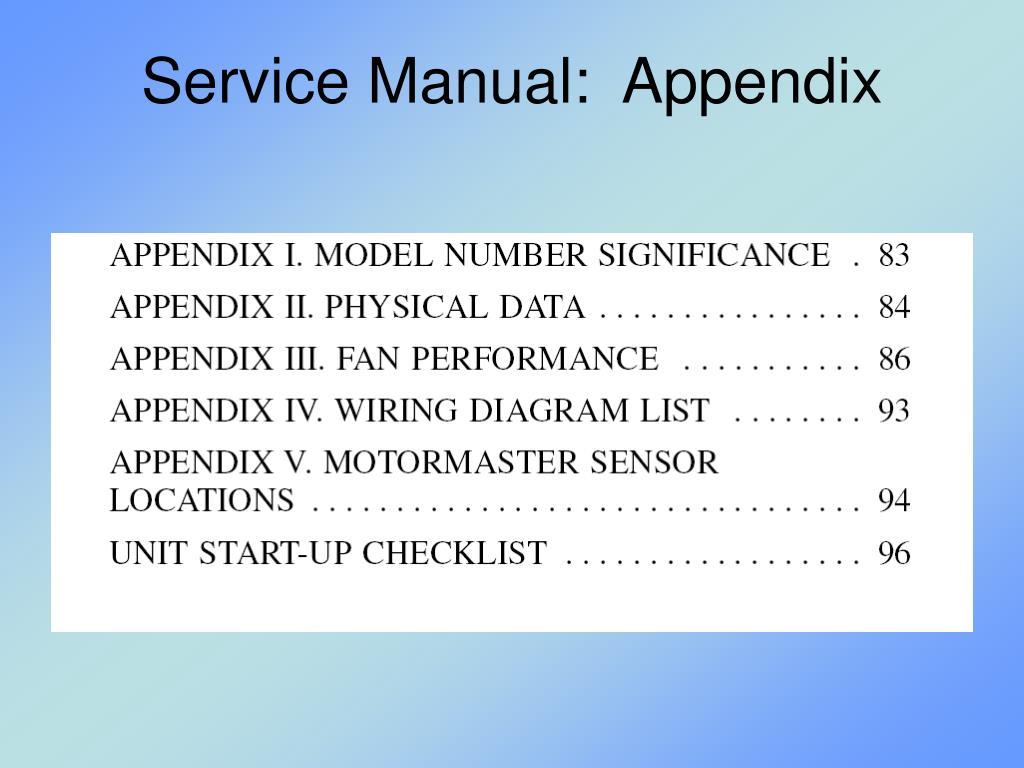 Service Manual:  Appendix