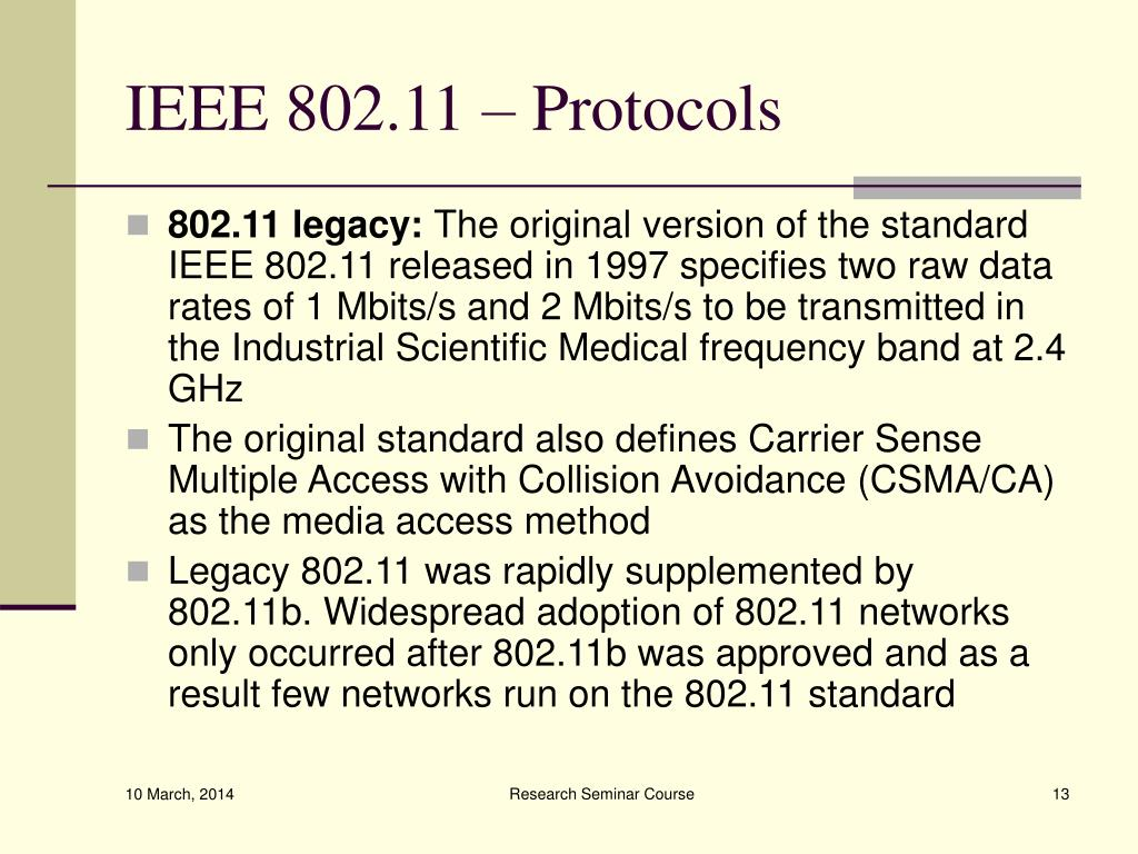 IEEE 802.11 – Protocols
