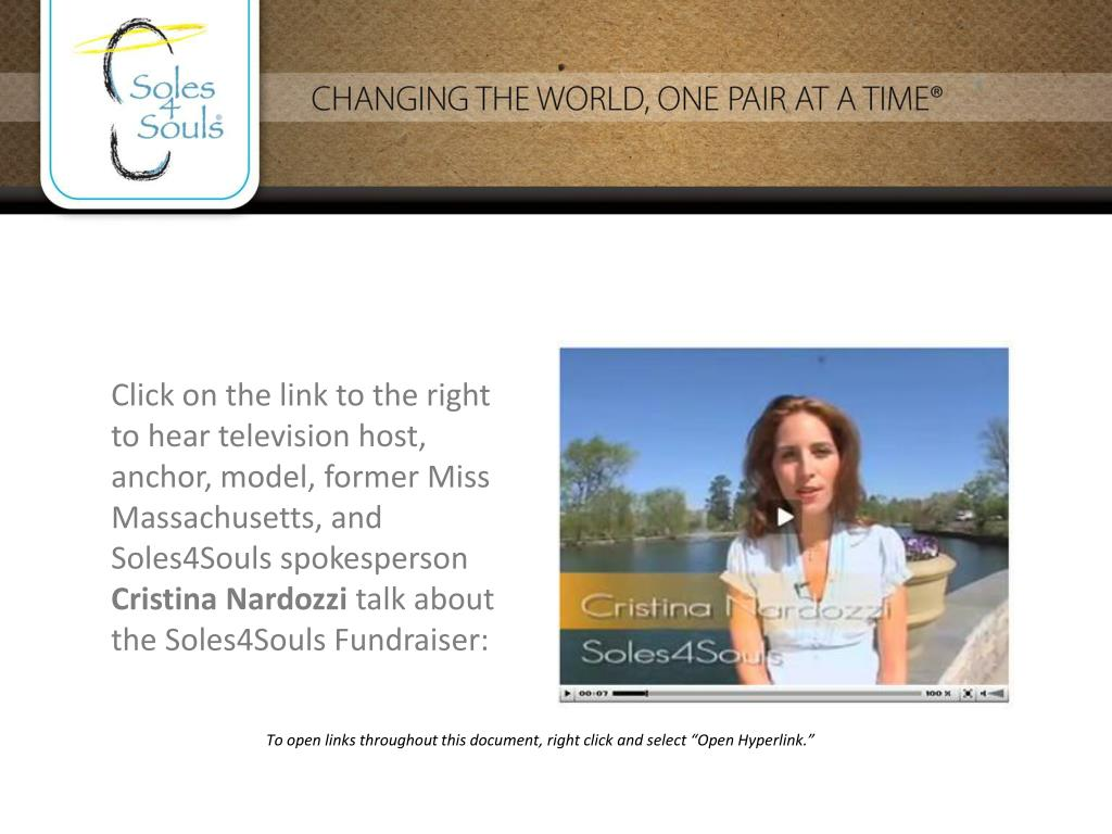 Click on the link to the right to hear television host, anchor, model, former Miss Massachusetts, and Soles4Souls spokesperson
