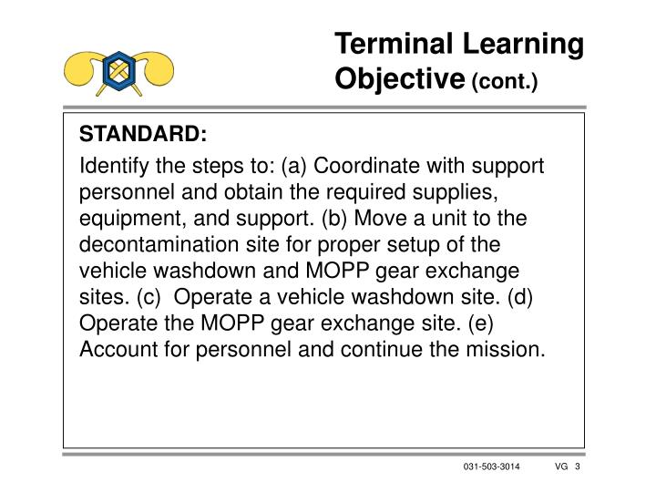 Terminal learning objective cont3