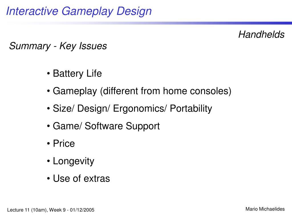 Summary - Key Issues
