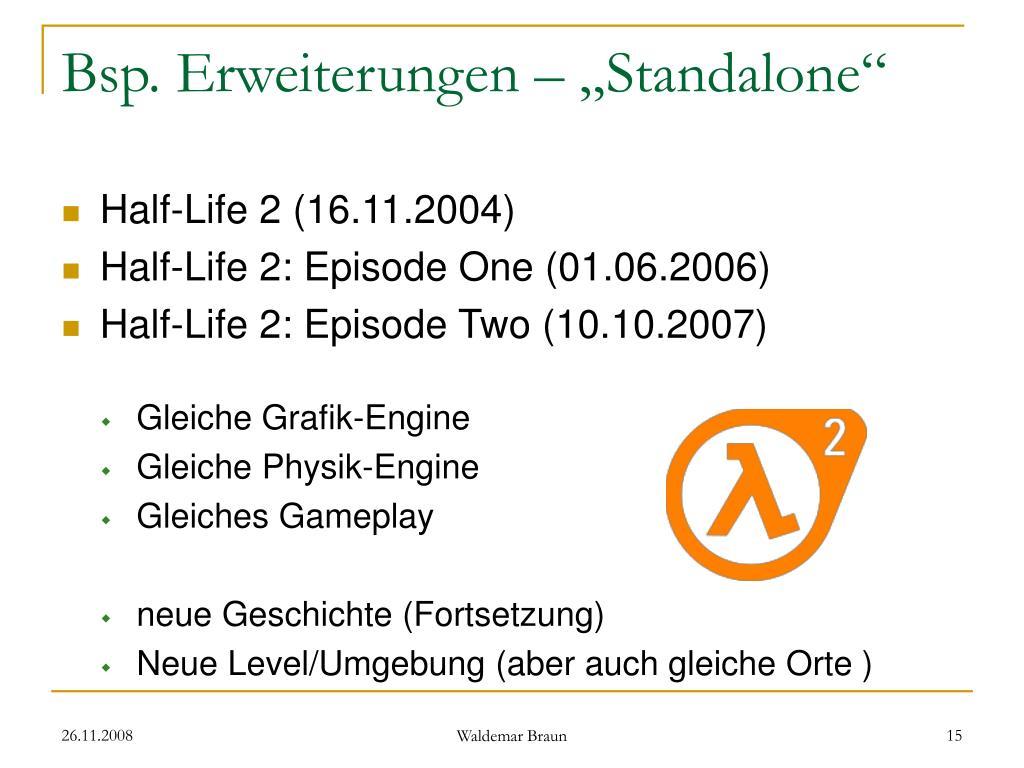 """Bsp. Erweiterungen – """"Standalone"""""""
