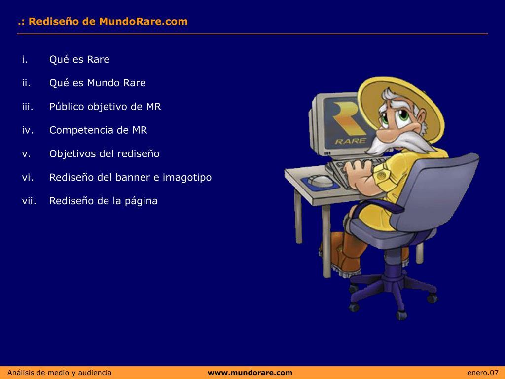.: Rediseño de MundoRare.com