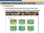 adapting existing games for learning