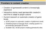 frontiers in content creation