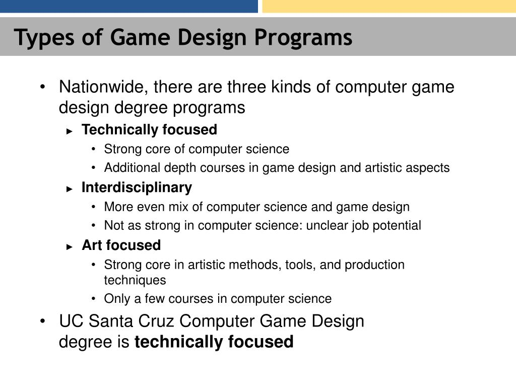 Types of Game Design Programs