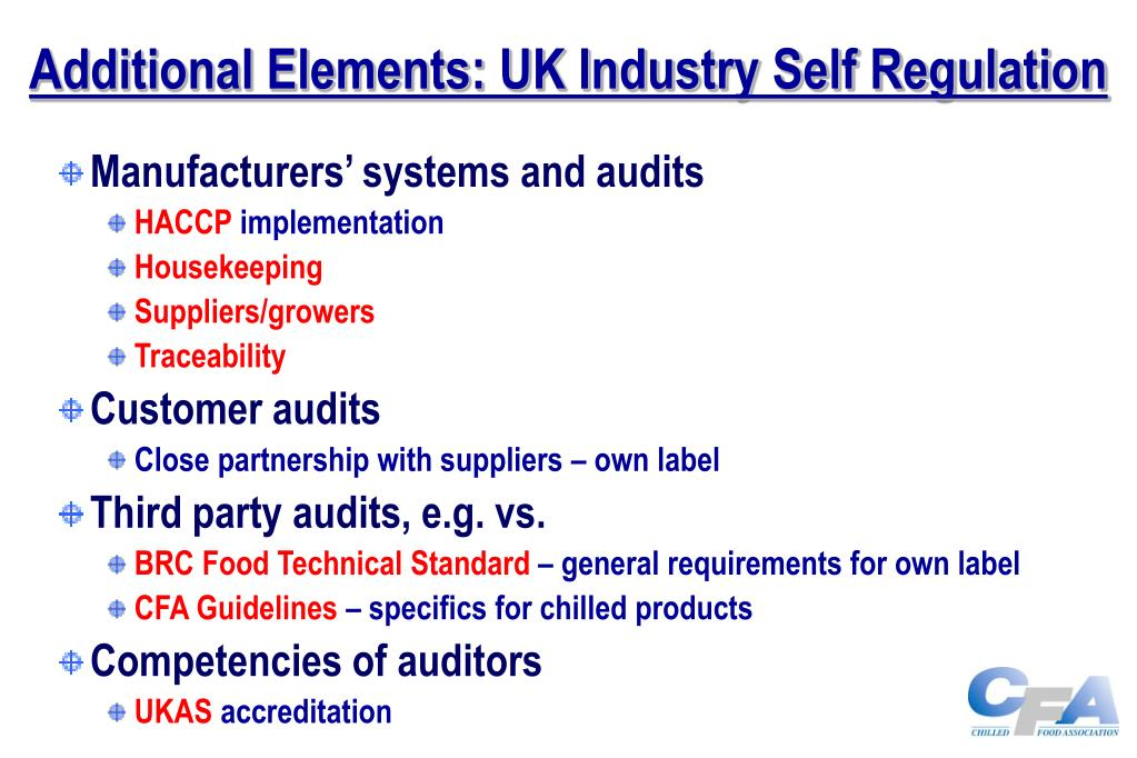 Additional Elements: UK Industry Self Regulation