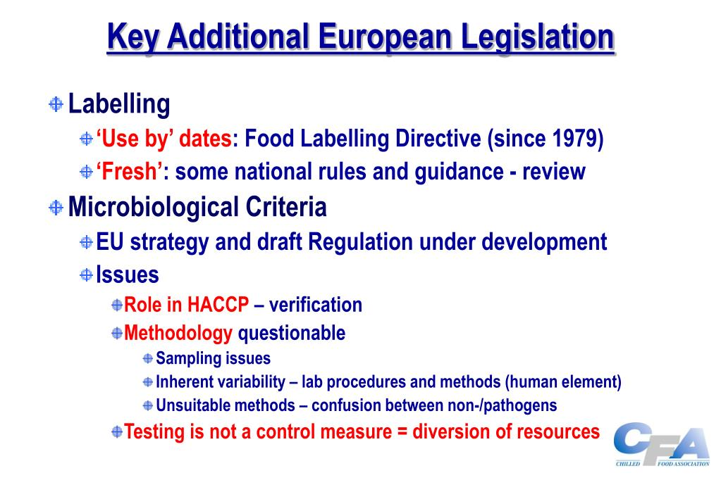 Key Additional European Legislation