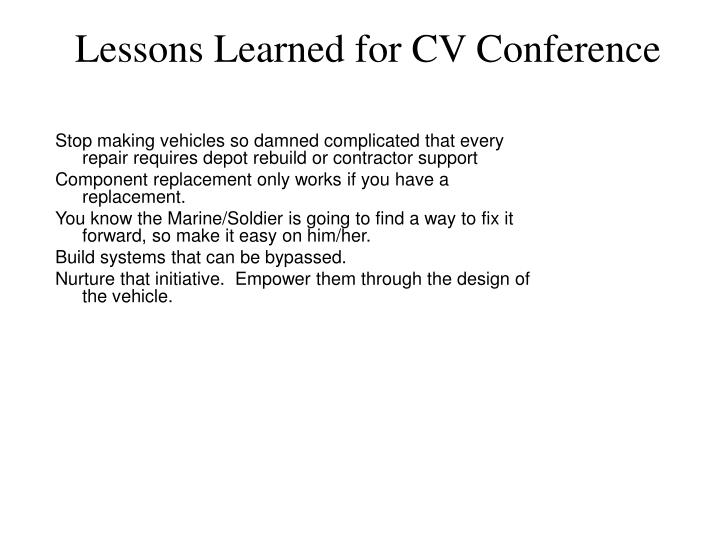 Lessons Learned for CV Conference