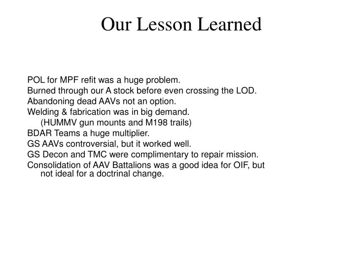 Our Lesson Learned