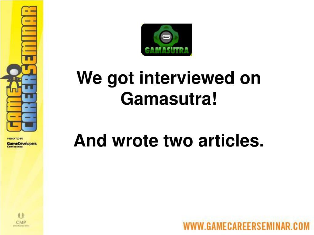 We got interviewed on Gamasutra!
