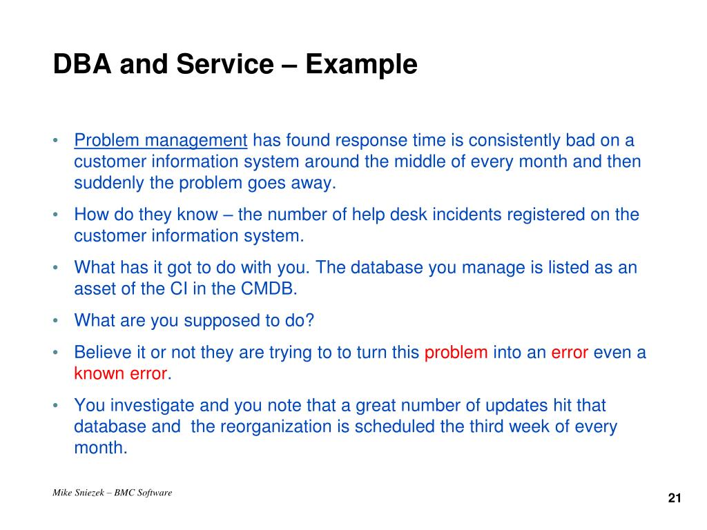 DBA and Service – Example