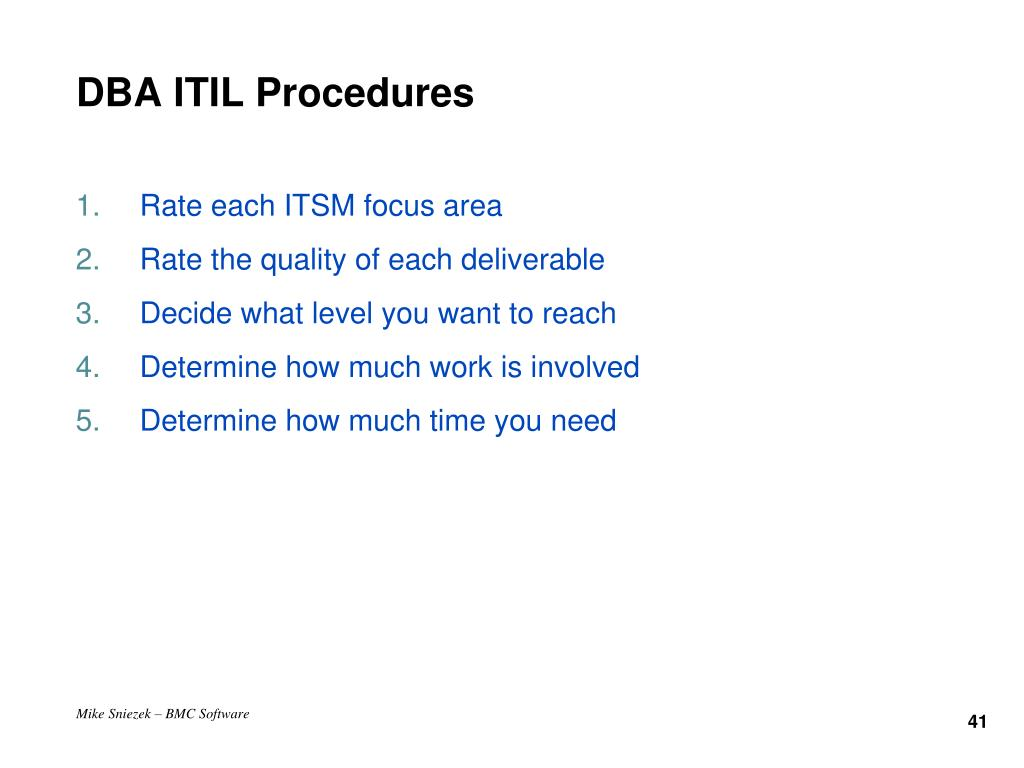 DBA ITIL Procedures