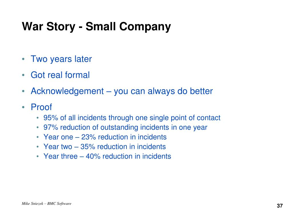 War Story - Small Company