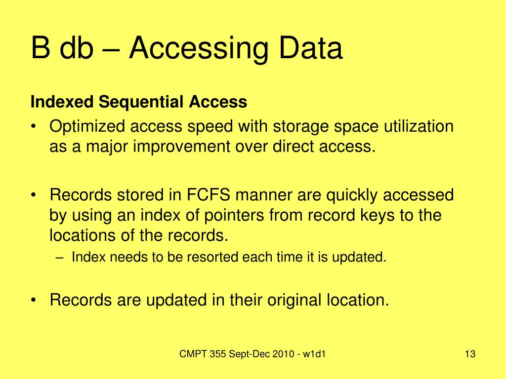 B db – Accessing Data