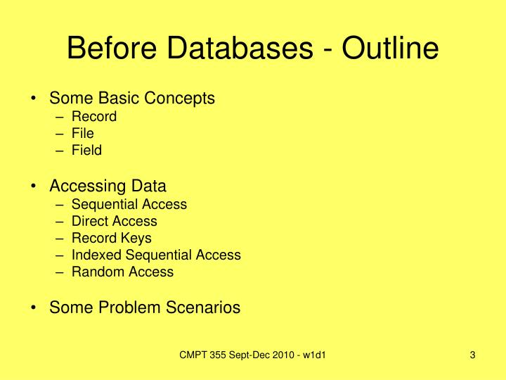 Before databases outline