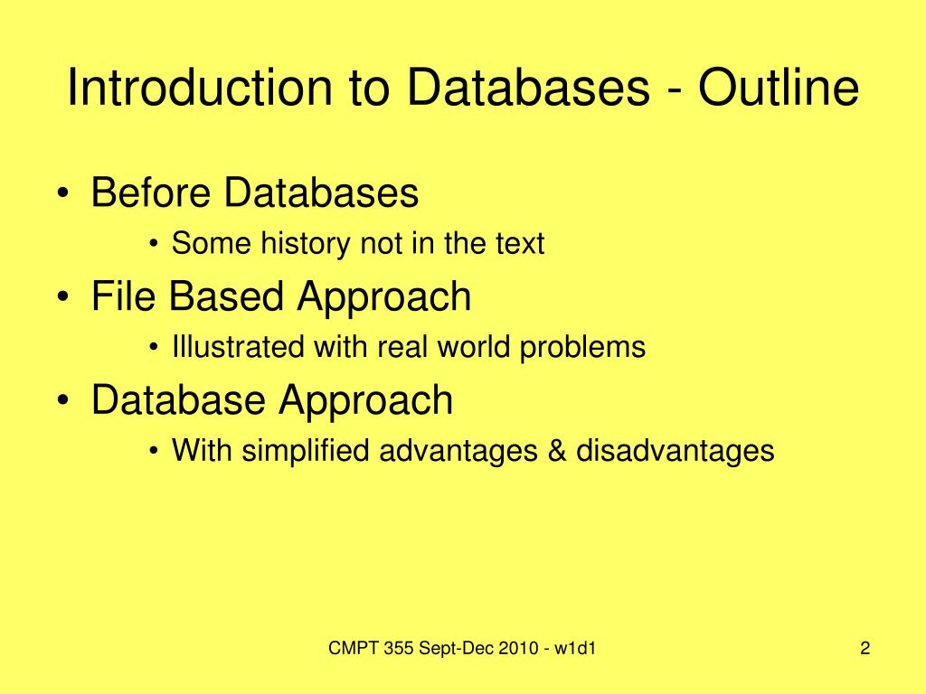 Introduction to Databases - Outline