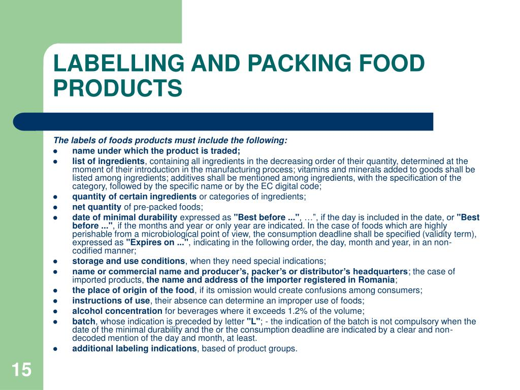 LABELLING AND PACKING FOOD PRODUCTS
