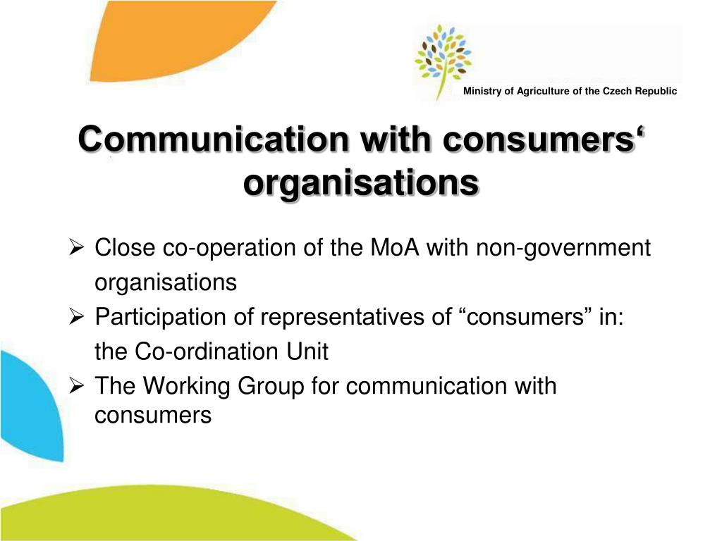 Communication with consumers' organisations