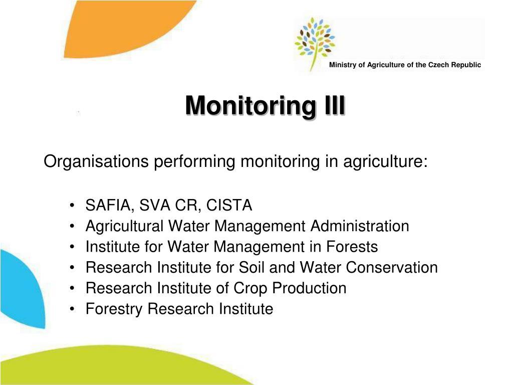 Monitoring III