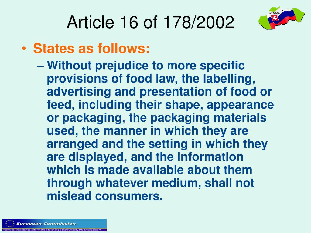 Article 16 of 178/2002