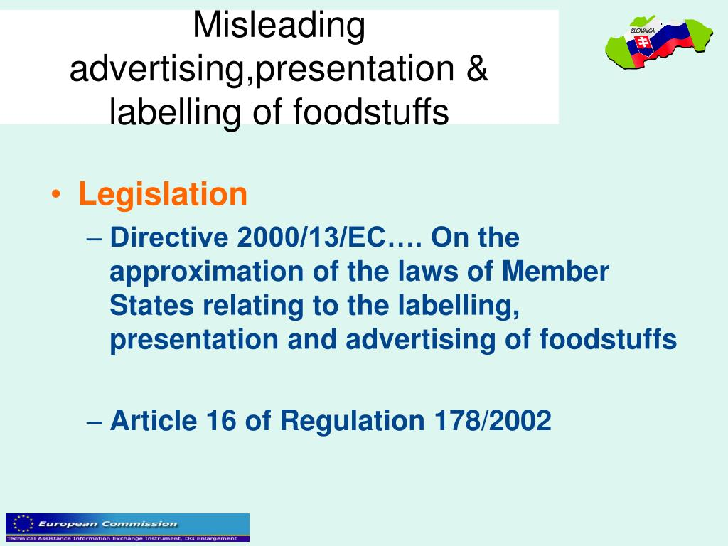 Misleading advertising,presentation & labelling of foodstuffs