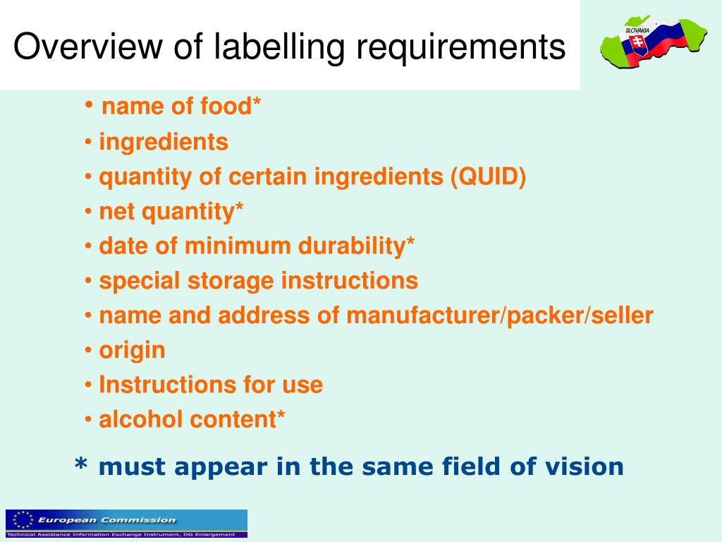 Overview of labelling requirements