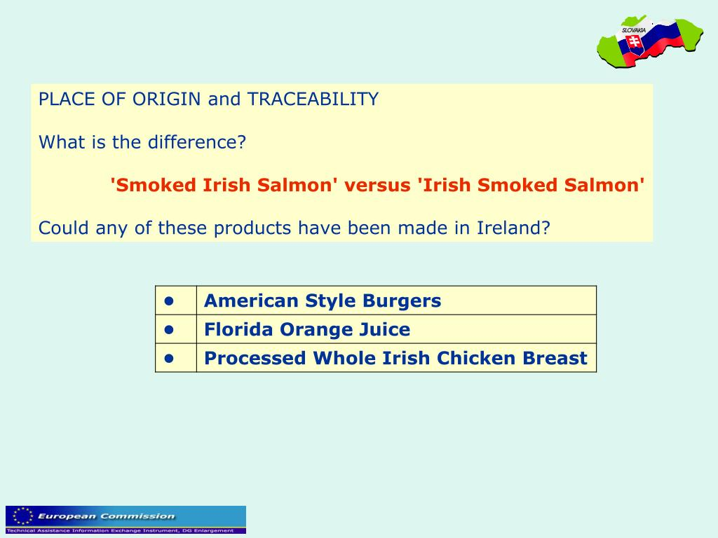 PLACE OF ORIGIN and TRACEABILITY
