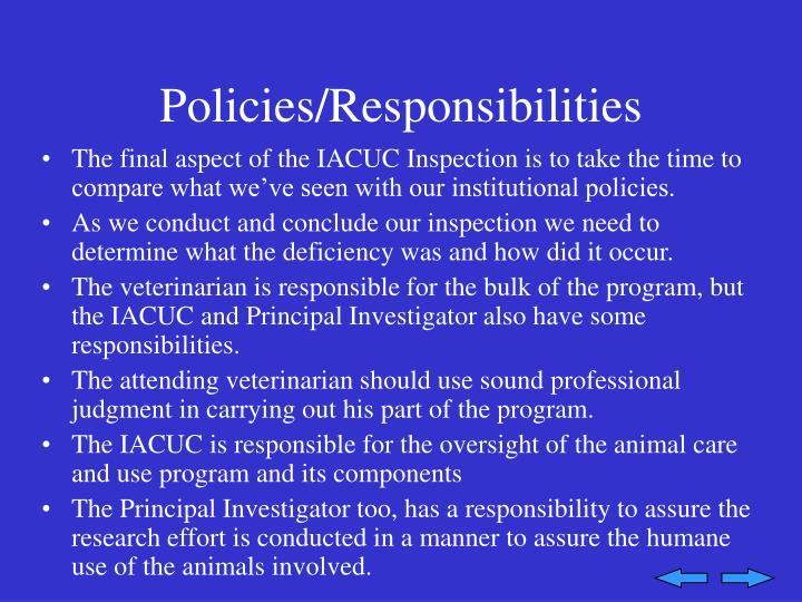 Policies/Responsibilities