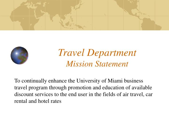 Travel department mission statement