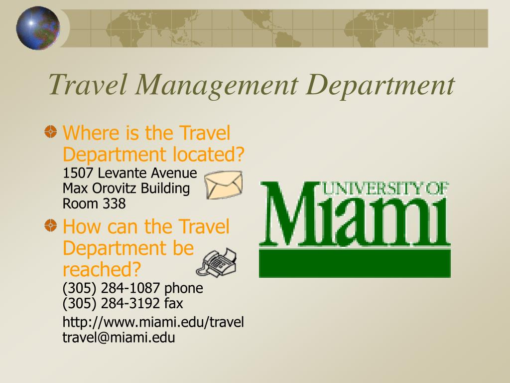 Travel Management Department