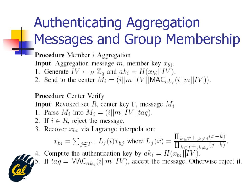 Authenticating Aggregation Messages and Group Membership