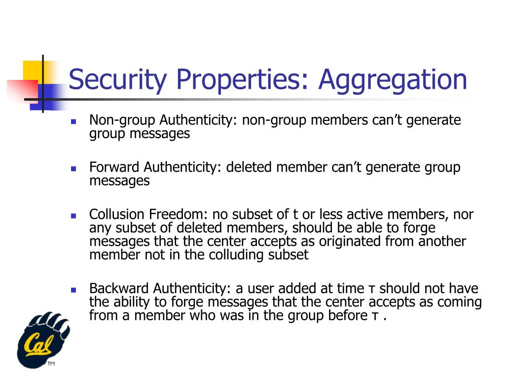 Security Properties: Aggregation