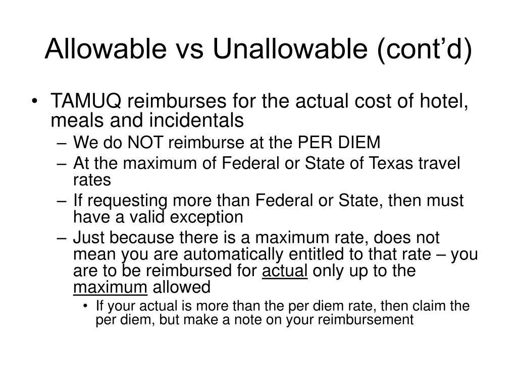 Allowable vs Unallowable (cont'd)