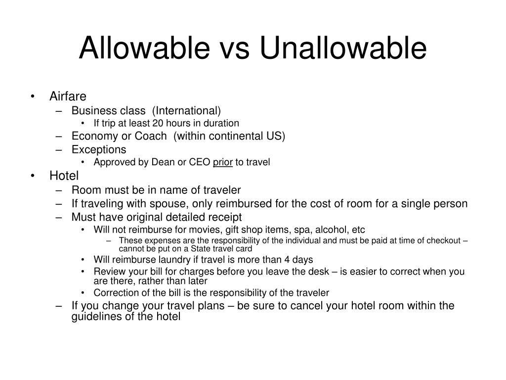 Allowable vs Unallowable