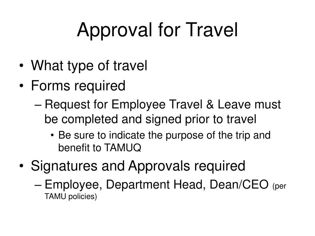 Approval for Travel