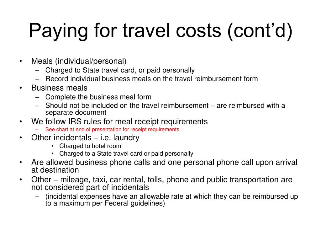 Paying for travel costs (cont'd)