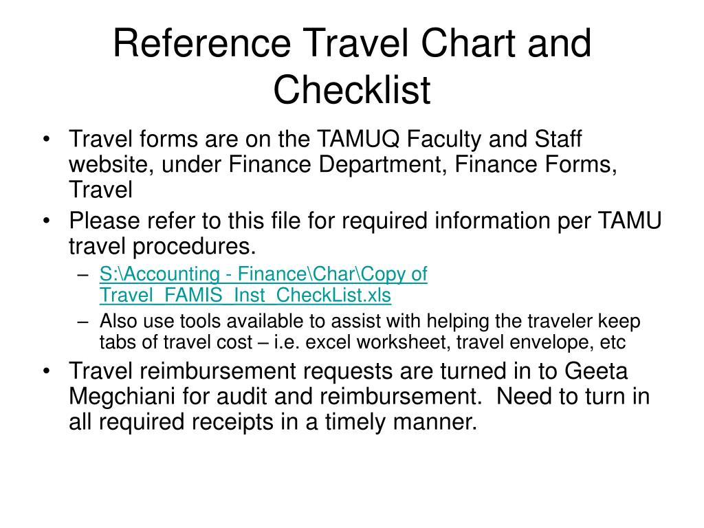Reference Travel Chart and Checklist