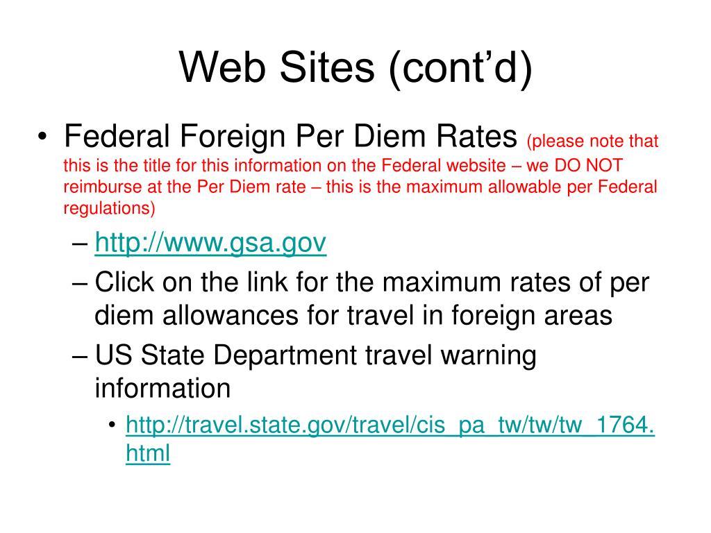 Web Sites (cont'd)