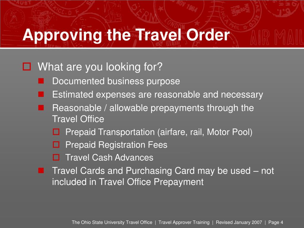 Approving the Travel Order