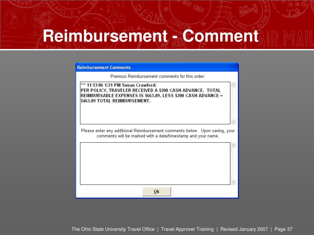Reimbursement - Comment