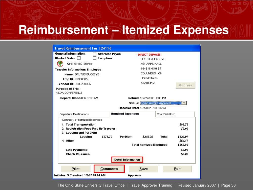 Reimbursement – Itemized Expenses