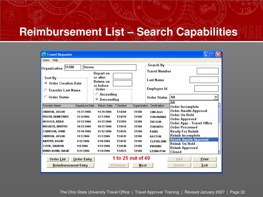 Reimbursement List – Search Capabilities