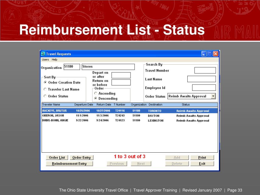 Reimbursement List - Status