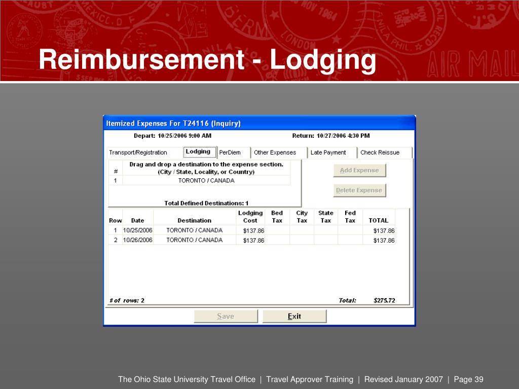 Reimbursement - Lodging