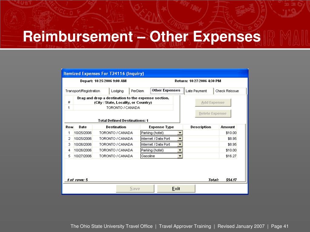 Reimbursement – Other Expenses