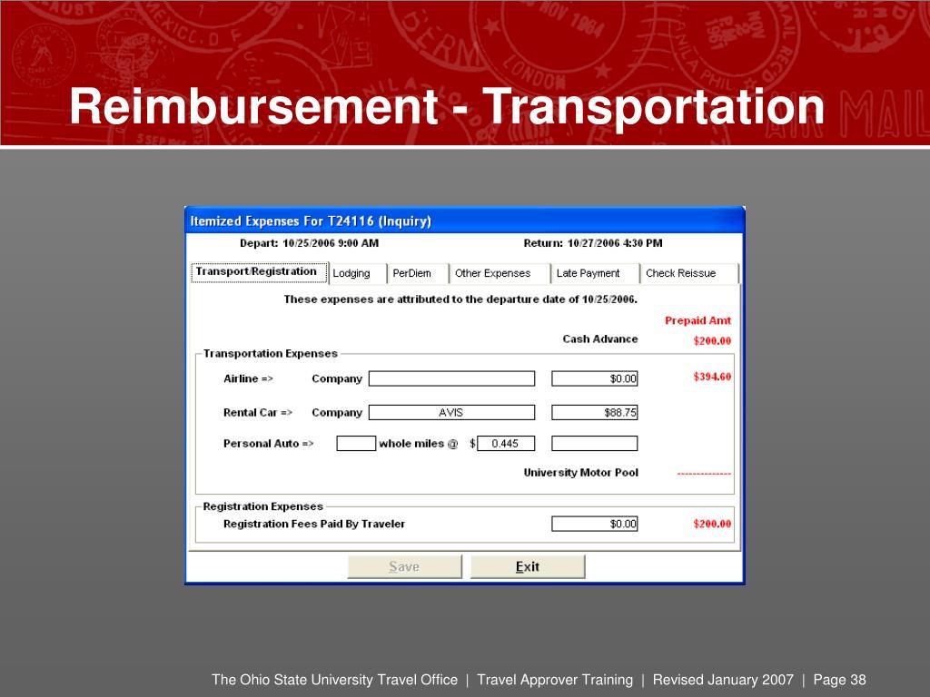 Reimbursement - Transportation
